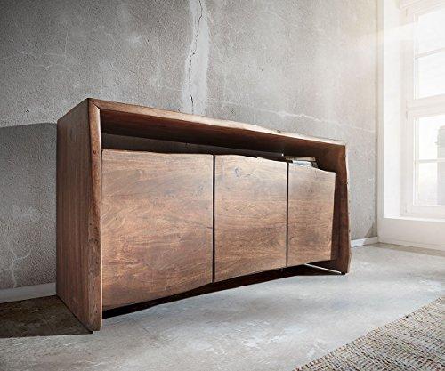 DELIFE Kommode Live-Edge Akazie Braun 145 cm 3 Türen 1 Fach Baumkante Sideboard
