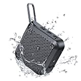 IPX7 Waterproof Bluetooth Speaker, Bluetooth Wireless Outdoor Speakers with Superior Sound & Rich Bass, TF Card/AUX, 12H Playtime, Built-in Mic, Mini Speakers for Shower, Home, Pool, Beach (Black)
