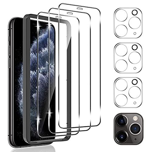 omitium 6 Pezzi Pellicola Vetro Temperato Compatibile con iPhone 11 Pro, 3 Pezzi Pellicola Protettiva e 3 Pezzi Pellicola Fotocamera [Cornice Allineamento] Facile 9H Durezza Protezione Schermo