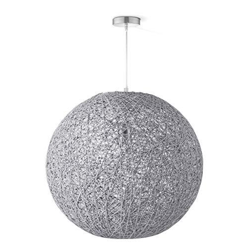 Lámpara colgante redonda, lámpara para el salón, certificación DEKRA, 45x45x145cm, altura regulable, casquillo E27, lámpara colgante redonda de color gris, grado de protección IP20