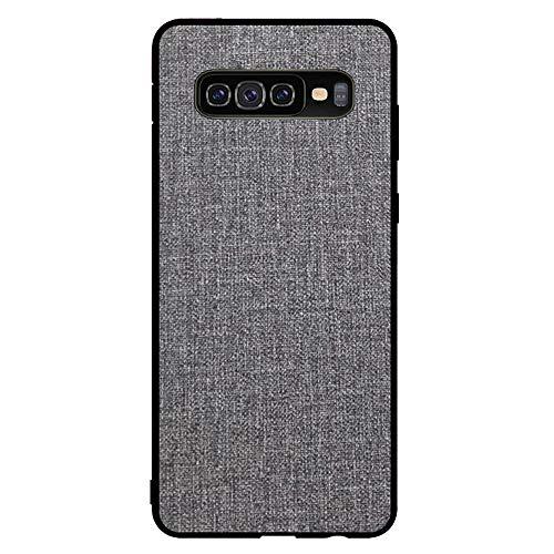 Riyeri Hülle Compatible with Samsung Galaxy S10 Plus Hülle Slim Hard PC Weicher Rand Silikonrahmen Cloth Craft Handy Schutz Schutzhülle für Samsung S10/S10e Cover 2019 (S10, Gray)