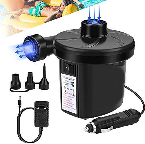 Lyeiaa Elektrische Luftpumpe für Luftmatratze, Elektropumpe 2 in 1 Inflate & Deflate mit 3 verschiedenen Luftdüse für aufblasbare Matratze Wasserbetten Kissen Pools Boote Flöße Schwimmring Spielzeug