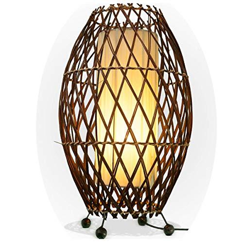 Bali asiatische Lampe Deko-Leuchte aus Rattan & Stoff, Stimmungsleuchte Stehleuchte aus traditioneller Handarbeit Simandra 41x25 cm Farbe Weiß
