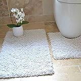 Tony's Textiles Juego de 2 Alfombrillas Gruesas para baño - 100% algodón Trenzado - Blanco