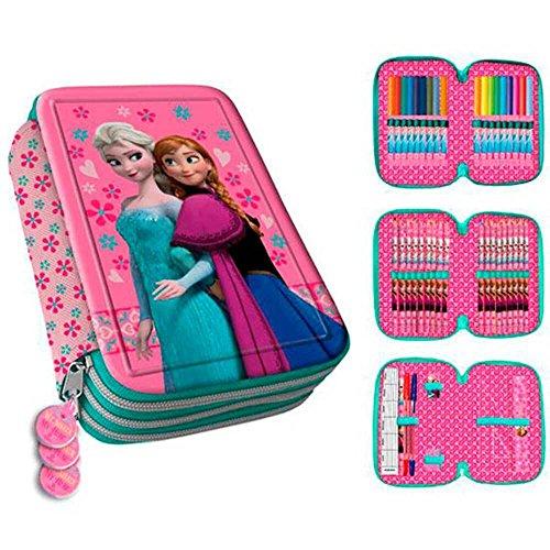 Estuche estuche relleno para la vuelta al cole–3pisos–Frozen–La Reina De Hielo–Elsa–Anna–con un cremallera Ideal También Para la vorschule en la Guardería