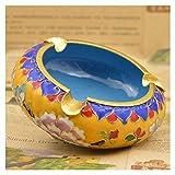Soporte de cerámica para cigarrillos de mesa redonda para tabaco, cigarros, bandeja de cenizas para decoración del hogar, oficina, cenicero (color: azul) YXF99 (color: amarillo)