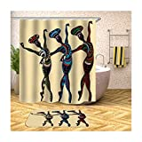 AmDxD Duschvorhang Badteppiche Set aus Polyester  3D-Druck DREI Tanzende Mädchen Muster Design Badvorleger Bad Vorhang   Bunt   mit 12 Duschvorhangringen für Badewanne Badezimmer - 165x180CM