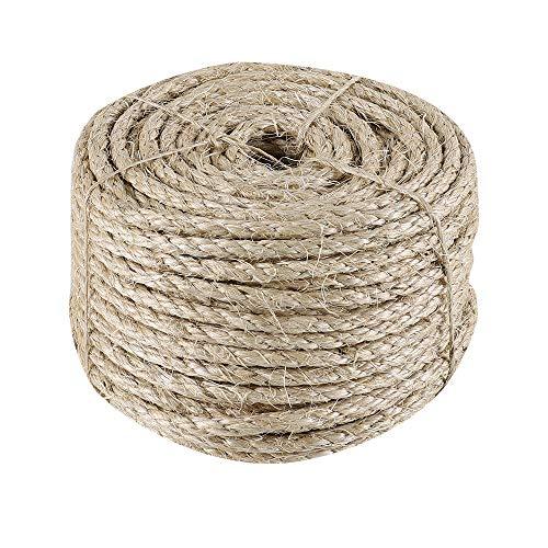 IZSUZEE Sisalseil für Kratzbaum, 6mm (40 Meter) Seil, Natürliches Hanfseil, Geeignet für Gartendekoration, Katzenbaum, Katzen Zubehör, Naturfaser, MEHRWEG