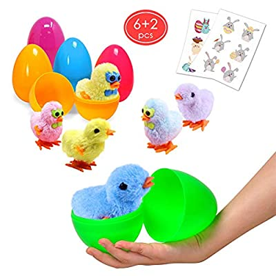Large Surprise Eggs Filled 6 Pack Easter Eggs with Wind-Up Novelty Jumping Chics and Animal Stickers Inside, Colorful Pre Plastic Easter Eggs For Kids Easter Gifts Easter Basket Stuffers Fillers