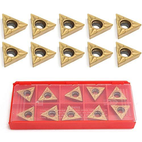 Uticon Hartmetall-Einsätze, 10 Stück, langlebig, TCMT 16T304 Dreiecks-Wolframstahl-Hartmetall-Einsätze, Drehwerkzeug