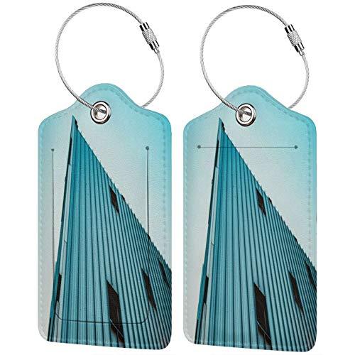 FULIYA - Etiquetas de cuero de gama alta para maletas - Juego de etiquetas identificadoras de viaje para bolsos y equipaje, para hombres y mujeres, edificio, fachada, esquina
