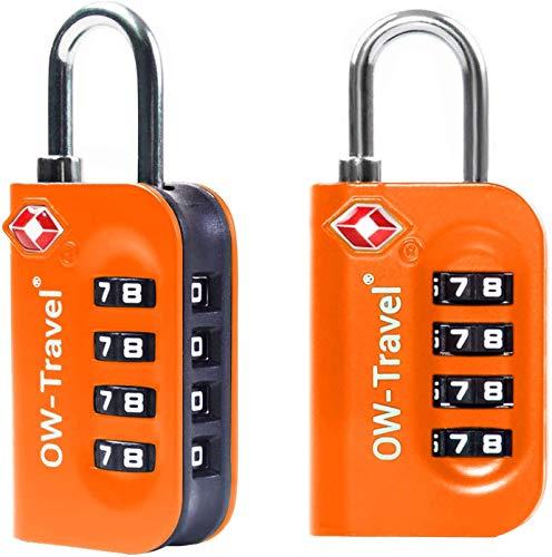 OW-Travel Candado maleta TSA Anti robo. Candado numerico 4 Digitos. Candado Combinacion Taquilla. Candados para mochilas y maletas. Candado Taquilla Gimnasio. TSA Candado seguridad equipaje Naranja 2