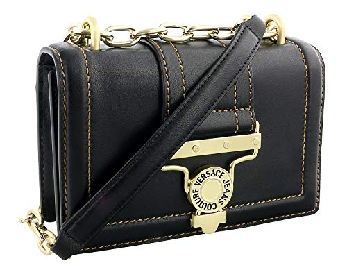 Versace Jeans Couture Black Structured Chain Strap Shoulder Bag for womens
