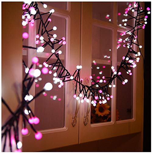 VNEIRW 3M 400 LEDs Lichterkette beleuchtet Doppelte Farbe Rosa + Weiß Lichter, 8 Modi Sternen Romantisch LED Lichtervorhang ideal für Weihnachtsdeko, Innen, Außen, Weihnachten Party usw. (Rosa)