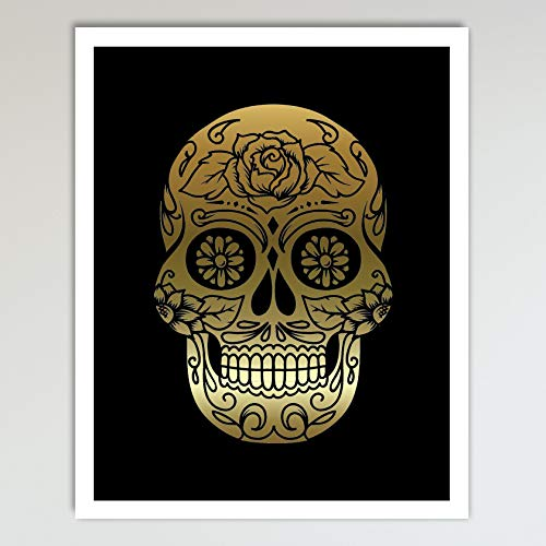 Gold Foil Art Print - Sugar Skull With Black Background Gold Foil Design 8x10 inches