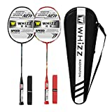 WHIZZ Anti Scratch Series Graphite Badminton Racket Set of 2 with Bag and 2 Grips (Y5Y6 Black+Red)