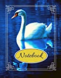 """Notebook: Beautiful White Swan Blue Writing Gift - Lined NOTEBOOK, 130 pages, 8.5"""" x 11"""""""