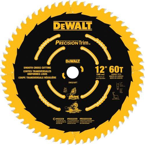 DEWALT 12-Inch Miter Saw Blade, Precision Trim, ATB, Crosscutting, 1-Inch Arbor, Tough Coat Finish, 60-Tooth (DW3216PT)