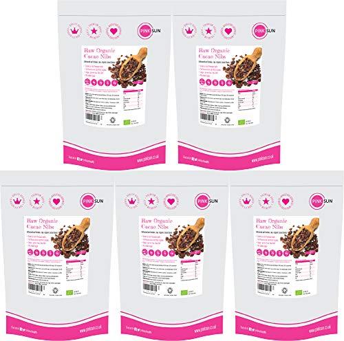 PINK SUN Raw Organic Cacao Nibs 5kg (1kg x 5) Criollo Cocoa Bits Gluten Free Unsweetened No Added Sugar Vegetarian Vegan Bulk Peruvian