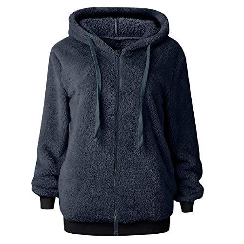 Las mujeres sudaderas con capucha polar sudadera abrigo invierno caliente lana cremallera bolsillos algodón Outwear señoras