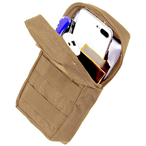 AOCKS Tactical Molle Pouch Tactical Compact Water-Resistant EDC Pouch for Tactical Backpack Assault Rig Vest (Tan)