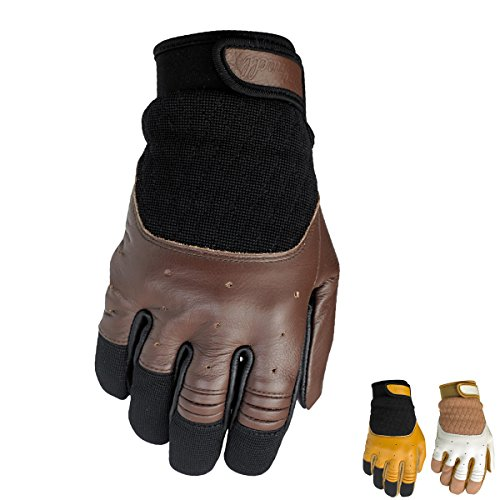 biltwell Bantam Leder Retro Sommer Motorrad Handschuhe, Herren, White / Tan