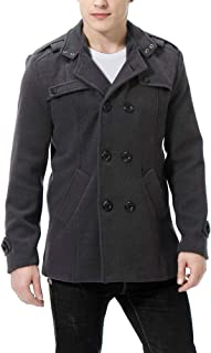 AOWOFS Men's Double Breasted Pea Coat Casual Lightweight Trench Coat Blazer Classic Design Outerwear