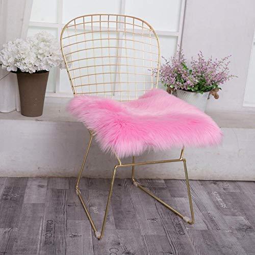 advancethy Cojín cuadrado de piel de oveja sintética para silla, cojín de asiento, muy suave, para salón, dormitorio, sofá (45,72 x 45,72 cm)