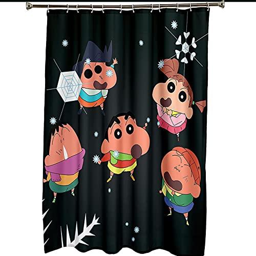 Duschvorhang mit 12 Haken, Crayon Shin-chan 3D Digital Gedruckte Blickdicht Duschvorhang, Schimmelresistente Duschvorhang für Bad, 120x180cm
