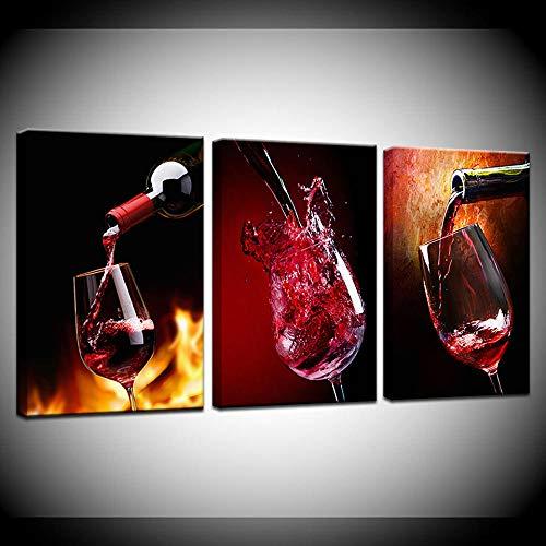 Leinwand Wandbilder Plakate und Drucke Plakate 3-teilig Wein- und Glasgemälde Bild für Bar Esszimmer Küche Zimmer Dekor-60cmx90cmx3_kein Rahmen