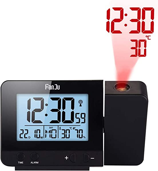 Projection Clock Dimmable LCD Display Screen Digital Alarm Clock Dual Alarm With USB Charging Port 12 24 Hours Indoor Temperature Day Date Display With Dimming Black