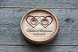 Matrimonio fedi Cuscino anelli matrimonio rustico elegante decorazioni Cuscino per anello' Due cuori','Two Hearts'