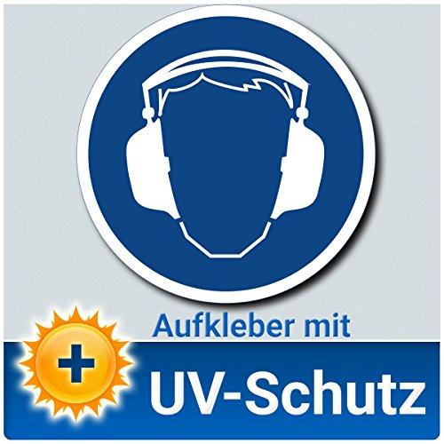 Gehörschutz benutzen Aufkleber Schild, Gebotszeichen nach DIN 4844-2, Material mit UV-Schutz, Ohrenschützer tragen