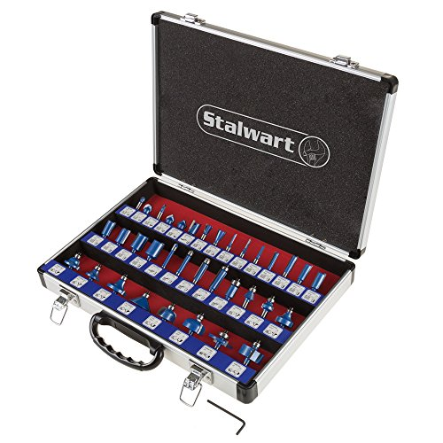 """Stalwart - 75-ST6041 Router Bit Set- 35 Piece Kit with ¼"""" Shank and Aluminum Storage Case By (Woodworking Tools for Home Improvement and DIY)"""
