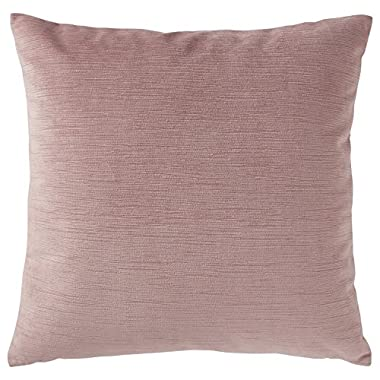 Rivet Velvet Texture Striated Pillow, 17  x 17 , Mauve