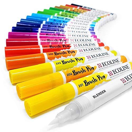 Juego de 20en estuche de plástico de rotuladores de pintura líquida en acuarela Royal Talens, de Ecoline