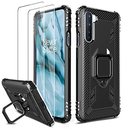 Milomdoi [Case with 2 Pack Cover for OnePlus Nord 5G Case + 2 Pack HD Tempered Glass Screen Protector, 360 Case Ring Holder Kickstand, TPU Silicone Shockproof Phone Cover-Black