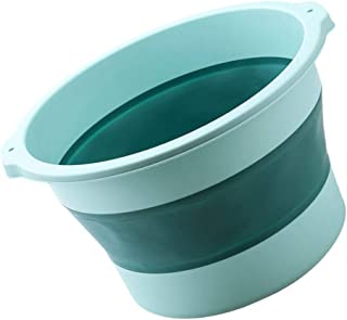 Yardwe Collapsible Foot Basin Foldable Bucket For Soaking Feet to Apply Callus Remover or Use Pumice Stone (Light Blue)