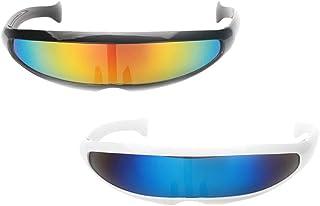 Lovoski 2 Pieces Futuristic Shield Sunglasses Monoblock Cyclops Party Glasses Costume for Kids Adults