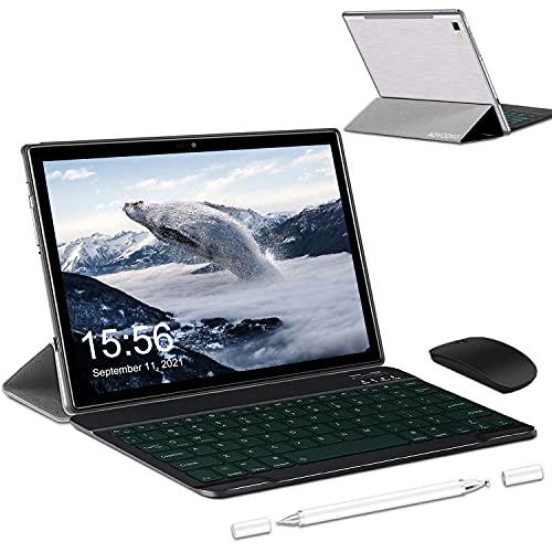 Tablet 10 Pollici Android 10.0-4G LTE Tablet RAM 6GB | ROM 64GB, 128GB Espandibili | 5G WIFI -8 core (Certificazione GOOGLE GMS), 6500mAh Batteria GPS— Mouse | Tastiera (Argento)