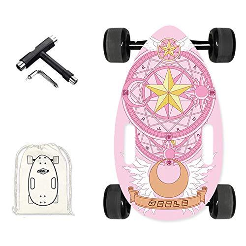 WRISCG Mini Longboard Cruiser Skateboards Scarabée, Planche à roulettes complète léger 45×25cm, avec Sac à Dos + T-Tool, 7 Plis d'érable Skateboard, Roulement ABEC-11, pour débutants et Pro,C