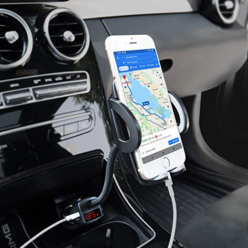 Amoner Car Phone Mount, Adjustable 4-in-1 Cigarette Lighter Cell Phone Holder with Dual USB 3.1A Charger Voltage Detector Car Mount Cradle for iPhone 11 Pro XS X XR 8 7 Samsung Galaxy S10 S9 S8