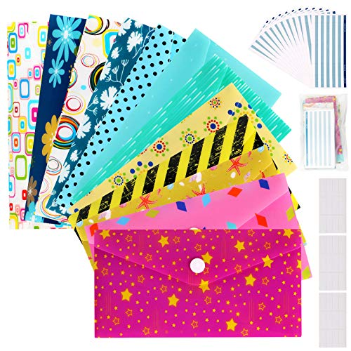 Cash Envelopes Plastic for Budget System - Money Envelopes for Budgeting and Saving, 12 Pack of Assorted Colors, Tear and Water Resistant, Includes 12 Expense Tracking Budget Sheets & 3 Label Sheets