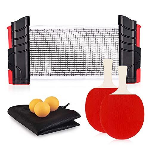 Juego de tenis de mesa, Sets de Ping Pong,Redes y postes de ping pong, 2 Red de Tenis de Mesa + redes de tenis de mesa extensibles + 3 pelotas de ping-pong, 1 * bolsa de malla, Juego de Ping P