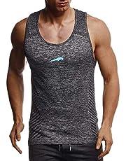 Leif Nelson Gym LN8308 Sportshirt voor heren, slim fit, naadloos, bodybuilder-trainingsshirt, mouwloos, sportshirt, kleding voor bodybuilding, training
