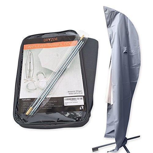Dryzem Housse haute qualité imperméable pour parasol déporté 600deniers en tissu Oxford avec protection UV et fermeture éclair
