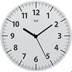 hito Silent Wall Clock Non Ticking 11 inch Excellent Accurate Sweep Movement Clear Frame, Modern Decorative for Kitchen, Living Room, Bathroom, Bedroom, Office (White)