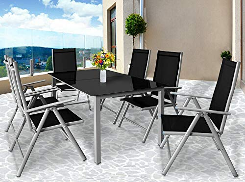 BJYX Sitzgruppe Alu Gartenmöbel Aluminium Sitzgarnitur Essgruppe Garten Tisch Set 6+1