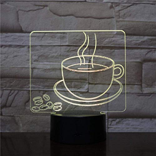Hot Coffee Cup Night Light LED 3D Visual Table Lamp 7 Color Changing Bedside Light Fixture Gifts Sleep Lighting Restaurant Decor