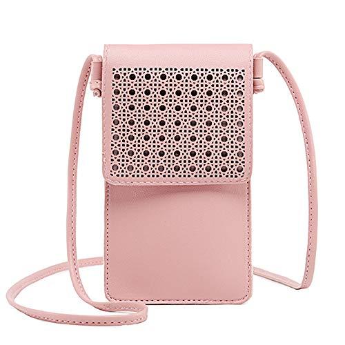 Handytasche für Damen, leicht, mit Touchscreen-Fenster, kleine Schultertasche, Handtasche, Kuriertasche, S, rose